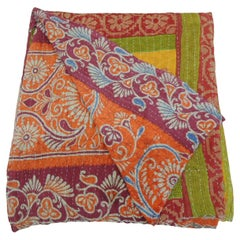 Indian Kantha Colorful Quilted Throw