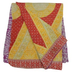 Indian Kantha Colorful Quilted Throw with Triangles, Circles and Flowers
