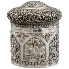 Indian Karachi Silver Lidded Tea Caddy with Animals by J Mankrai