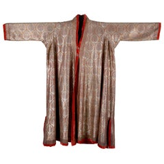 Indian Kashmir Silver-Embroidered Wool Choga, Ceremonial Men's Coat 19th Century