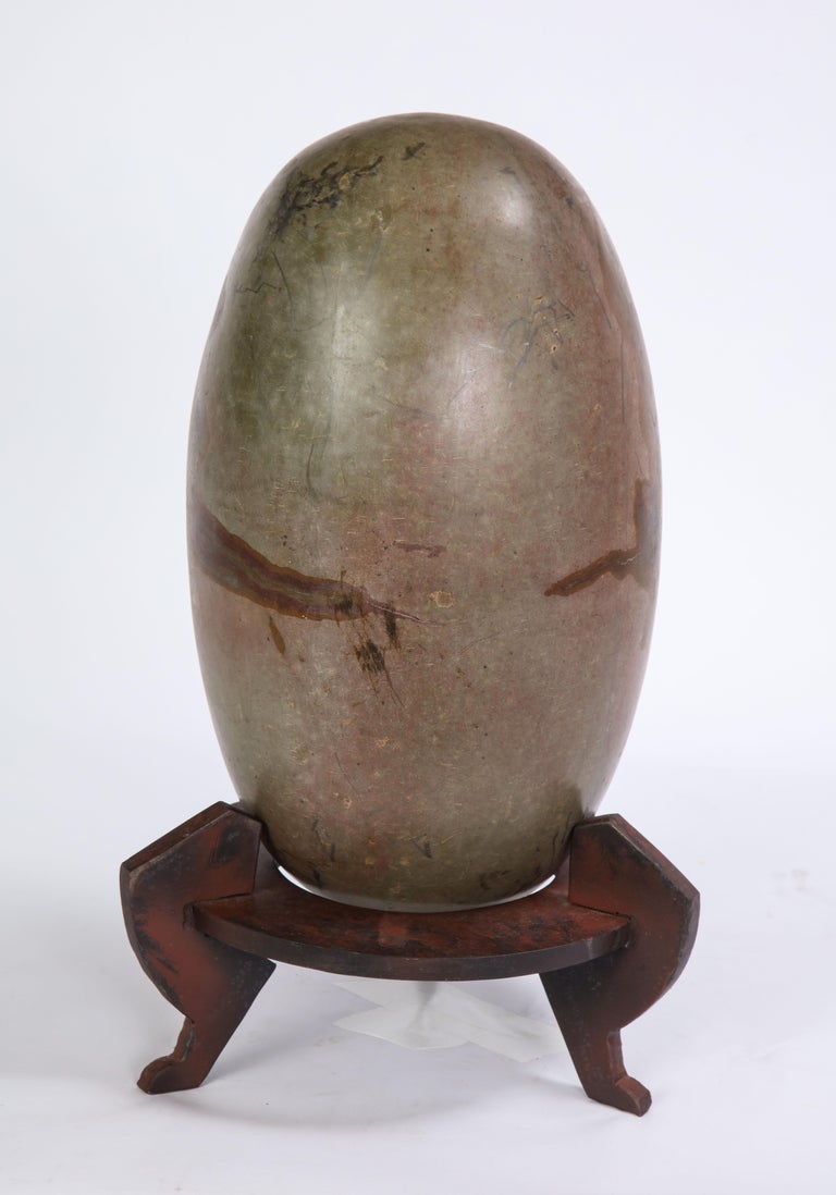 Indian Lingam Stone of Ovoid Form with Metal Stand In Good Condition For Sale In New York, NY