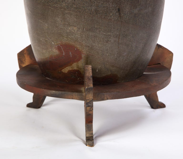 Indian Lingam Stone of Ovoid Form with Metal Stand For Sale 2