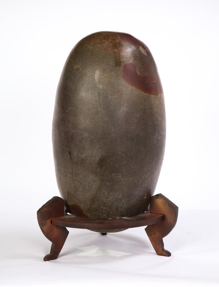 Indian Lingam Stone of Ovoid Form with Metal Stand For Sale 5