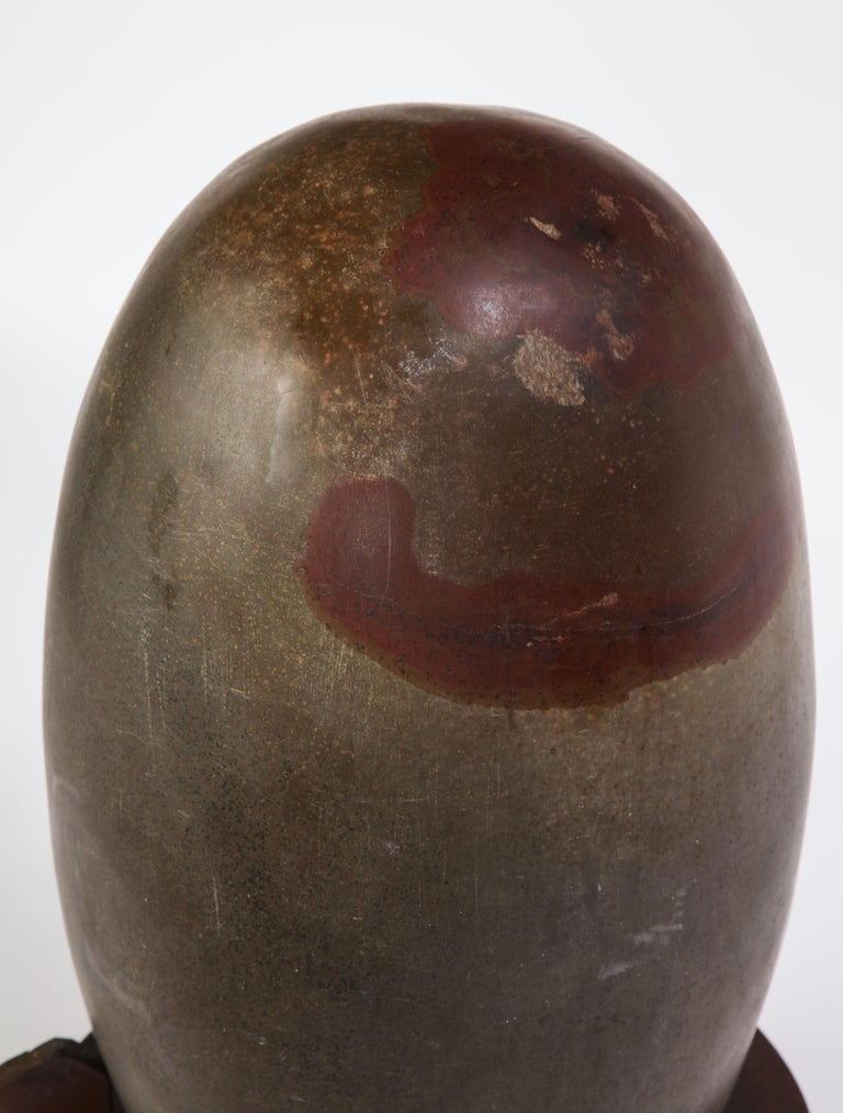 Indian Lingam Stone of Ovoid Form with Metal Stand For Sale 7