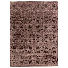 Indian Lilac & Plum Handwoven Silk & Wool Rug