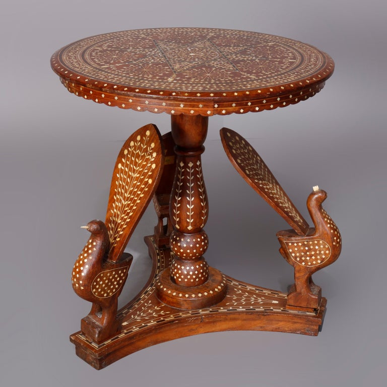 20th Century Indian Marquetry Carved and Inlaid Figural Peacock Side Table, circa 1910 For Sale