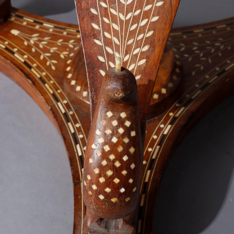 Mother-of-Pearl Indian Marquetry Carved and Inlaid Figural Peacock Side Table, circa 1910 For Sale