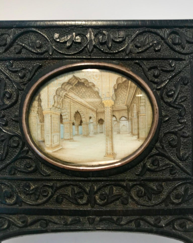 Anglo-Indian Indian Miniature Perspective Painting in Ebony Frame For Sale