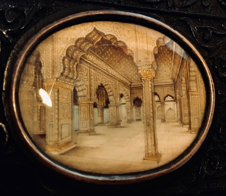 Silver Indian Miniature Perspective Painting in Ebony Frame For Sale
