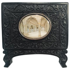 Indian Miniature Perspective Painting in a Hand Carved Ebony Frame