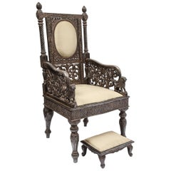 Indian Mogul Style Silver-Clad Gilded Ceremonial Throne Chair for the Maharajah