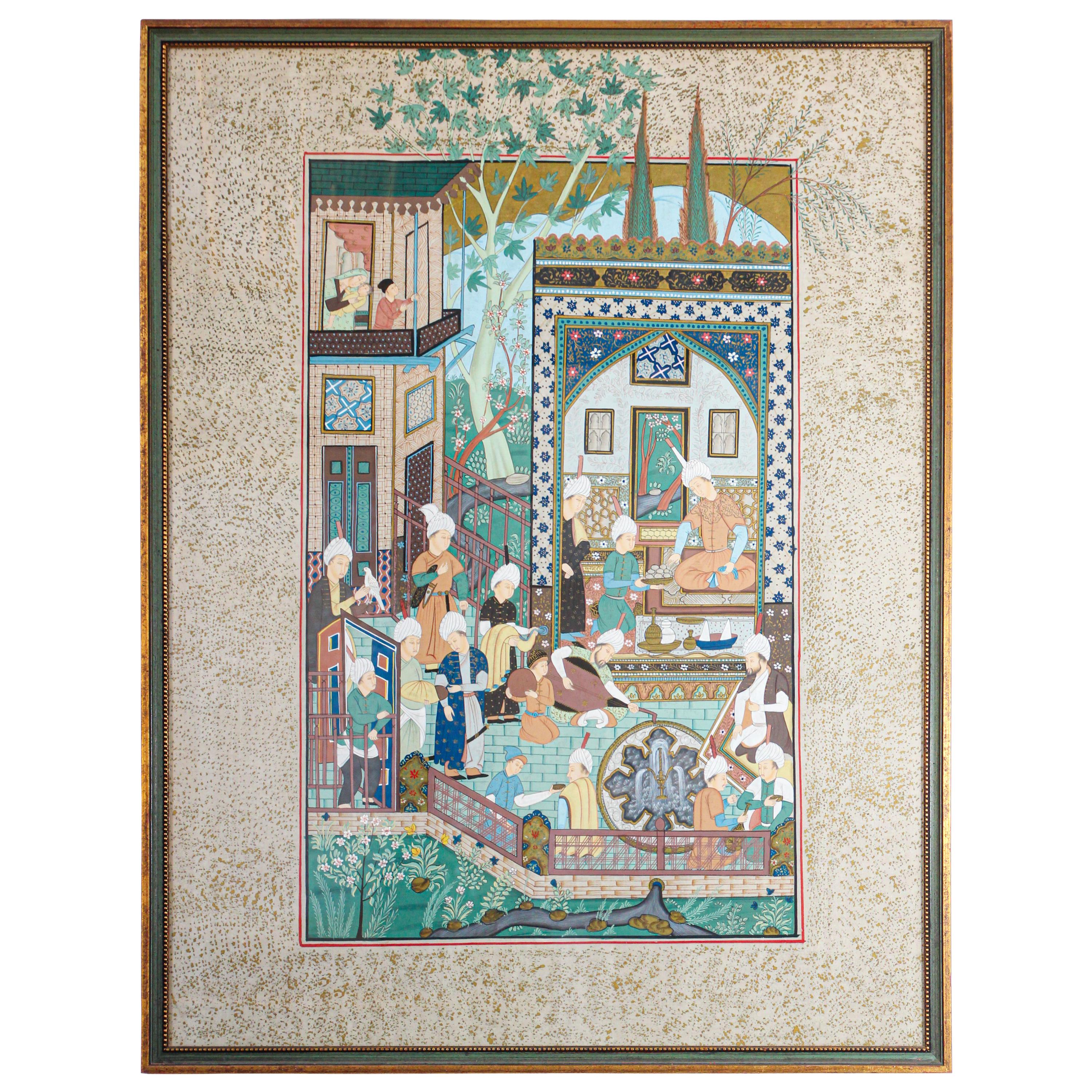 Indian Mughal 19th Century Scene Style Miniature Painting