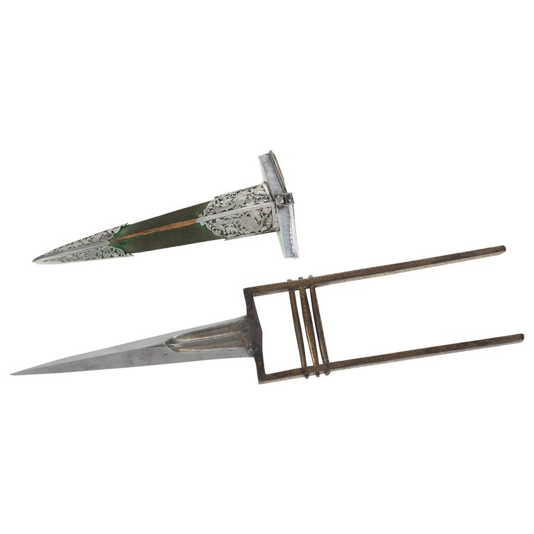 Indian Mughal Punch Dagger, Katar, with Scabbard, Late 18th Century For Sale