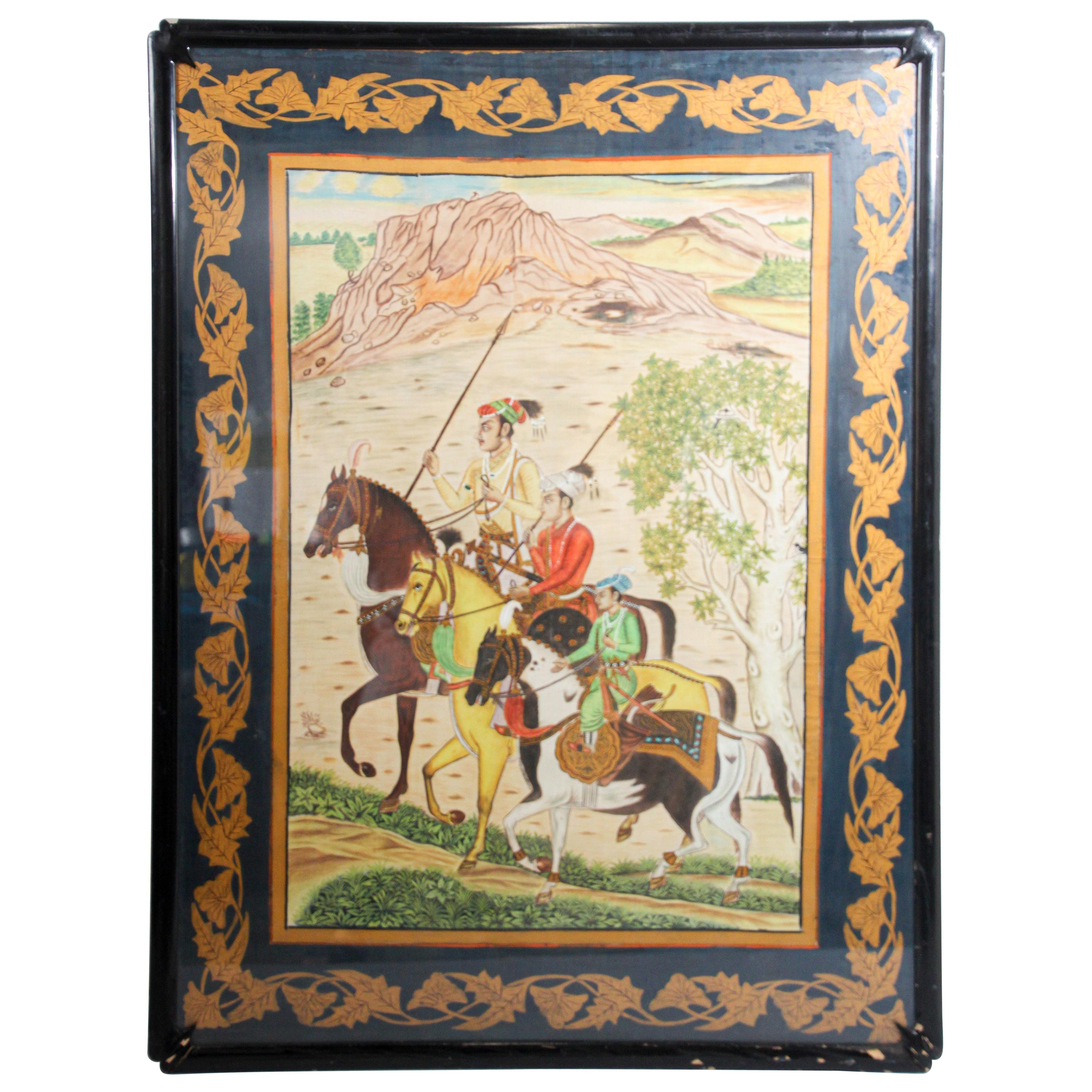 Indian Mughal School 19th Century Scene Painting on Silk