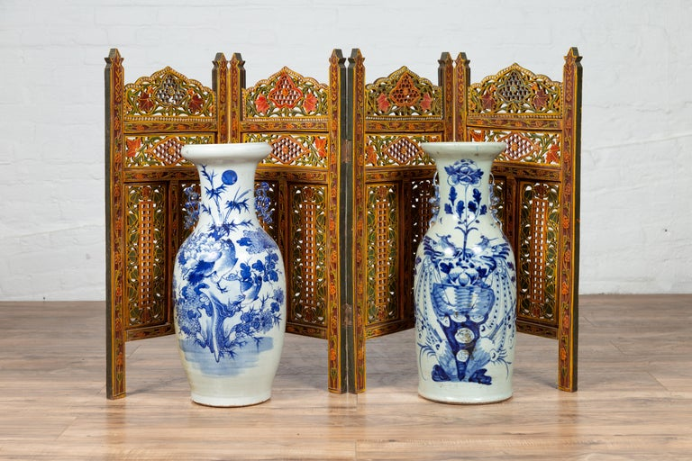 Indian Multi-Color Open Fretwork Hand Carved and Hand Painted Four-Panel Screen For Sale 7