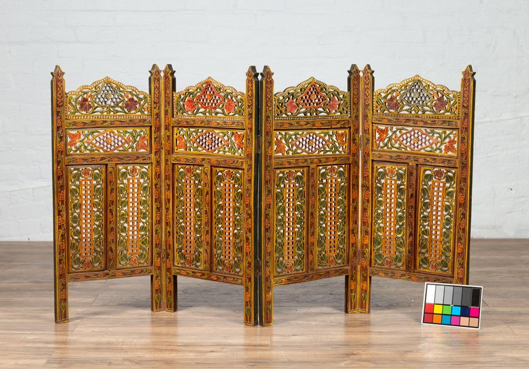 Indian Multi-Color Open Fretwork Hand Carved and Hand Painted Four-Panel Screen For Sale 9