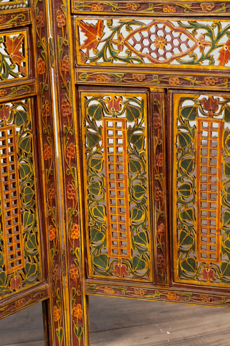 Hand-Carved Indian Multi-Color Open Fretwork Hand Carved and Hand Painted Four-Panel Screen For Sale