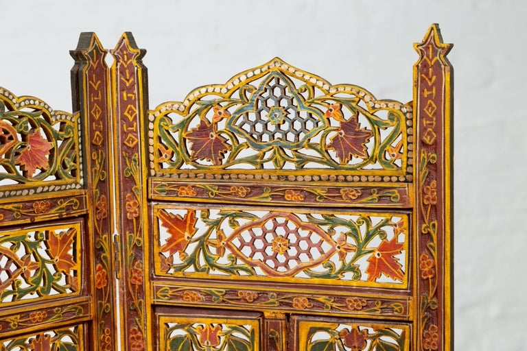 Indian Multi-Color Open Fretwork Hand Carved and Hand Painted Four-Panel Screen In Good Condition For Sale In Yonkers, NY