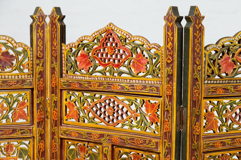 20th Century Indian Multi-Color Open Fretwork Hand Carved and Hand Painted Four-Panel Screen For Sale
