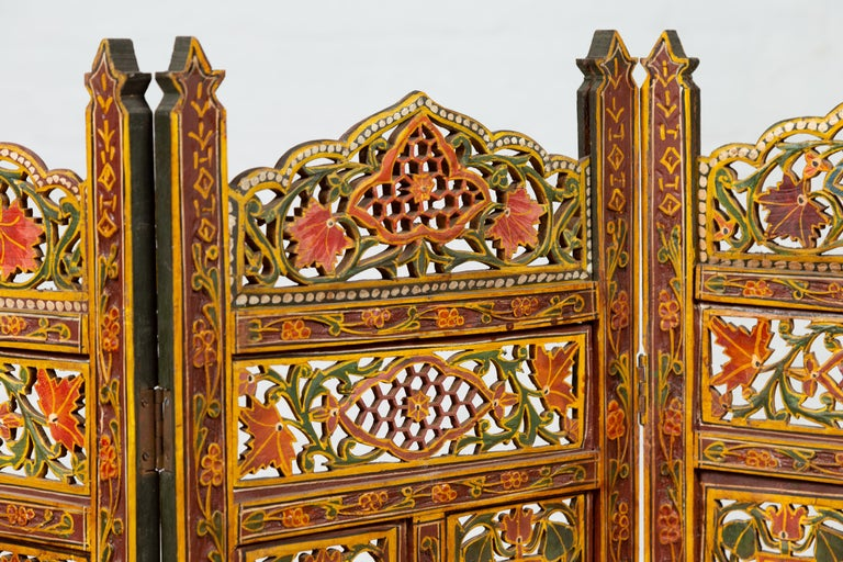 Wood Indian Multi-Color Open Fretwork Hand Carved and Hand Painted Four-Panel Screen For Sale