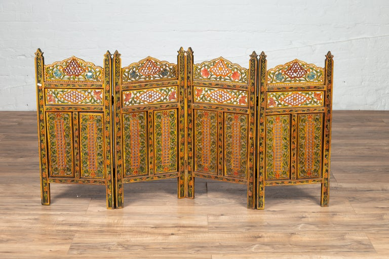 Indian Multi-Color Open Fretwork Hand Carved and Hand Painted Four-Panel Screen For Sale 3