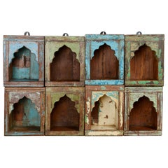 Indian Painted Wooden Single Wall Niches, 20th Century