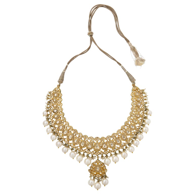 Indian Pearl and Diamond Necklace For Sale