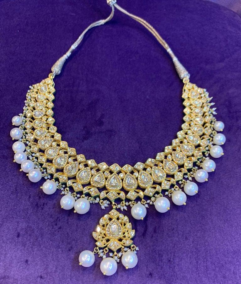 Indian Pearl & Diamond Necklace Rose Cut Diamonds Cultured Pearls Hand