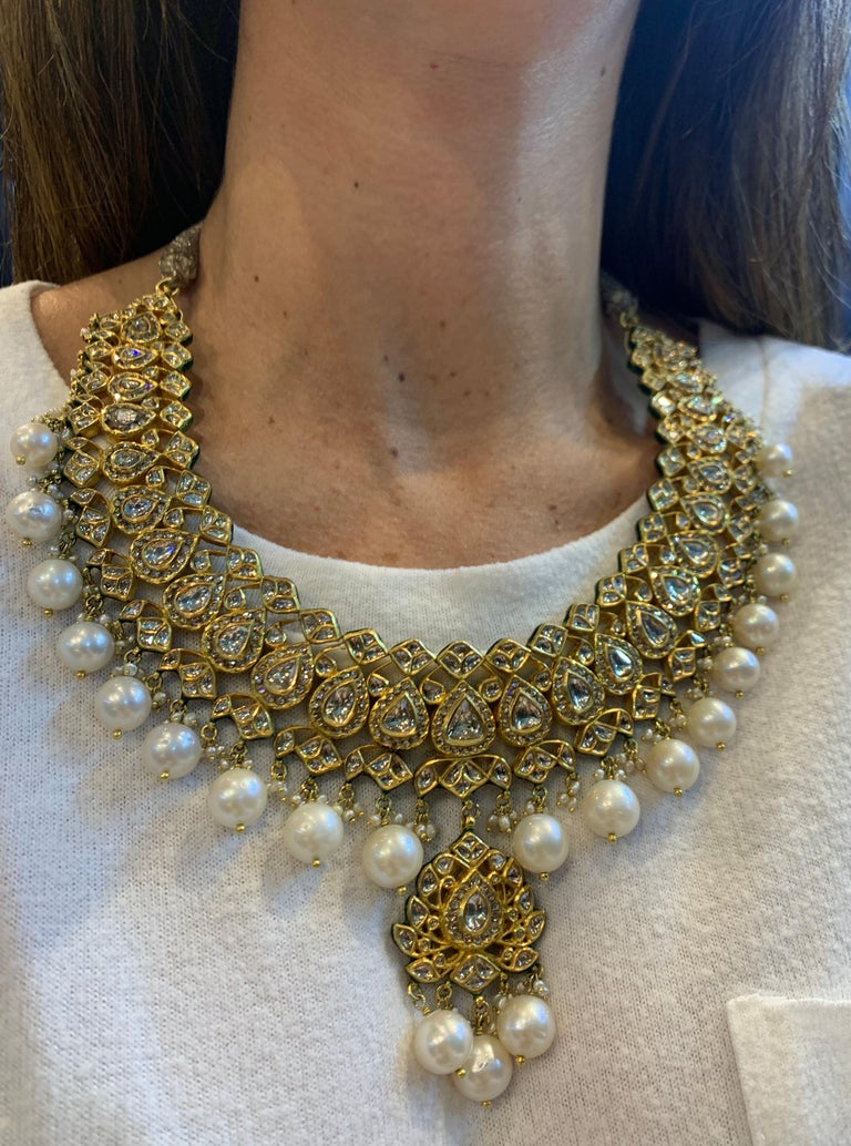 Rose Cut Indian Pearl and Diamond Necklace For Sale