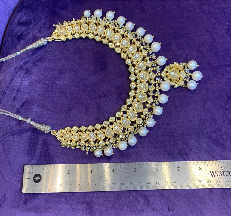 Women's Indian Pearl and Diamond Necklace For Sale