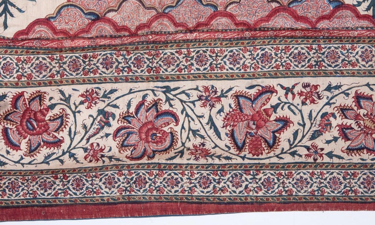 Hand-Painted Indian Qalamkari Panel with Great Details, 19th Century For Sale