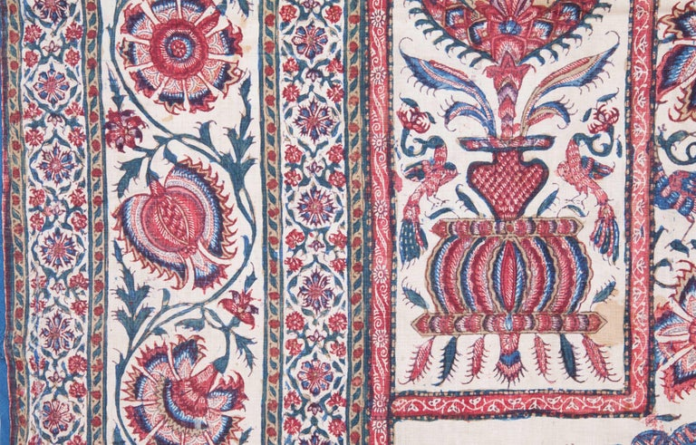Cotton Indian Qalamkari Panel with Great Details, 19th Century For Sale