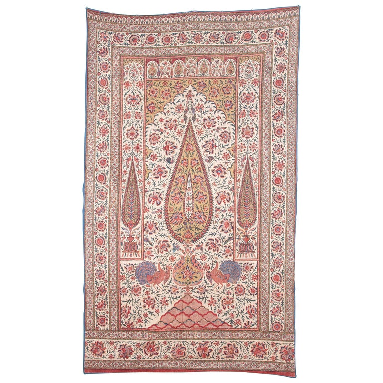 Indian Qalamkari Panel with Great Details, 19th Century For Sale