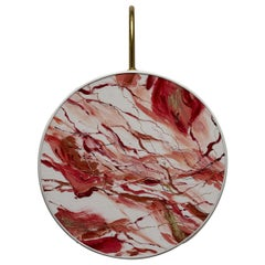 Indian Red Pattern Sconce Lamps Handmade Painting Velvet and Natural Brass