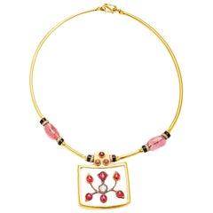 Indian Rock Crystal Tourmaline Diamond Necklace