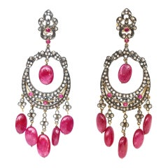 Indian Rubies Old-Cut Diamonds Gold Silver Chandelier Earrings, 1960