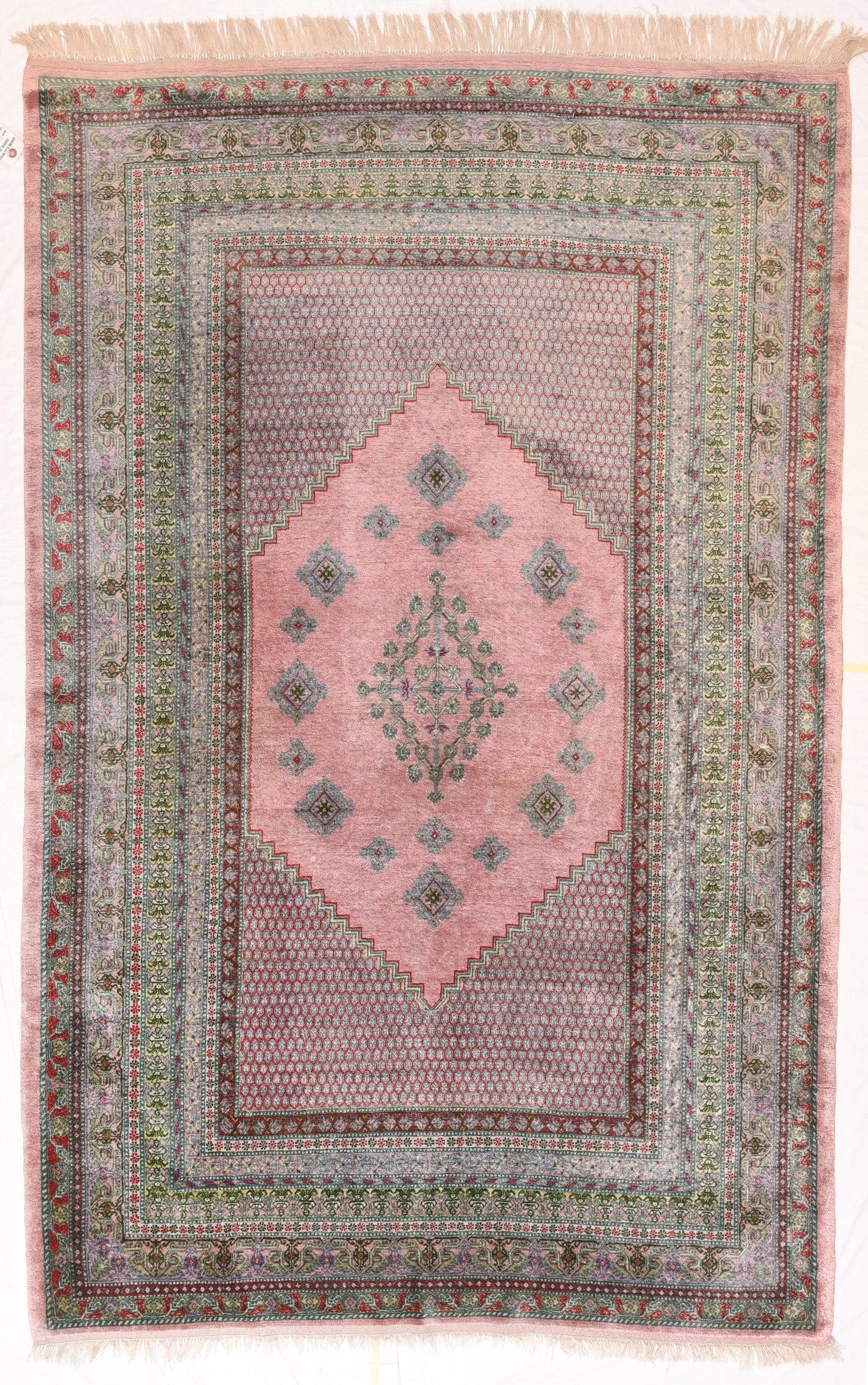 Indian Rug Kashmiri Silk On Hand