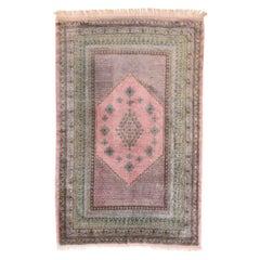 Indian Rug Kashmiri Silk on Silk Hand Knotted, circa 1940s