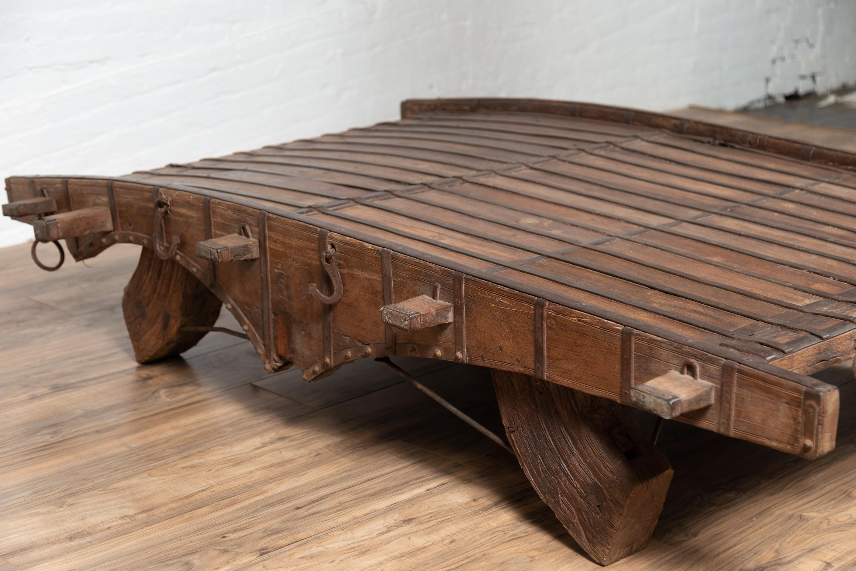 Indian Rustic Antique Wooden Ox Cart With Metal Accents Made Into A Coffee  Table