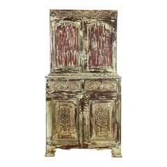 Indian Rustic Painted Wood Cabinet with Carved Foliage and Distressed Patina