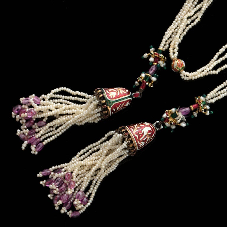 Indian Seed Pearl, Enamel and Gold Tassel Lariat Necklace In Excellent Condition For Sale In San Francisco, CA