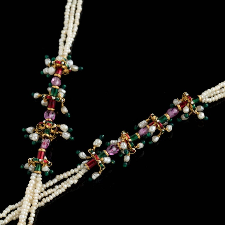 Women's Indian Seed Pearl, Enamel and Gold Tassel Lariat Necklace For Sale