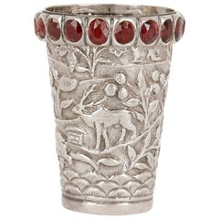 Indian Silver Cup with Jewels and Animals Decoration