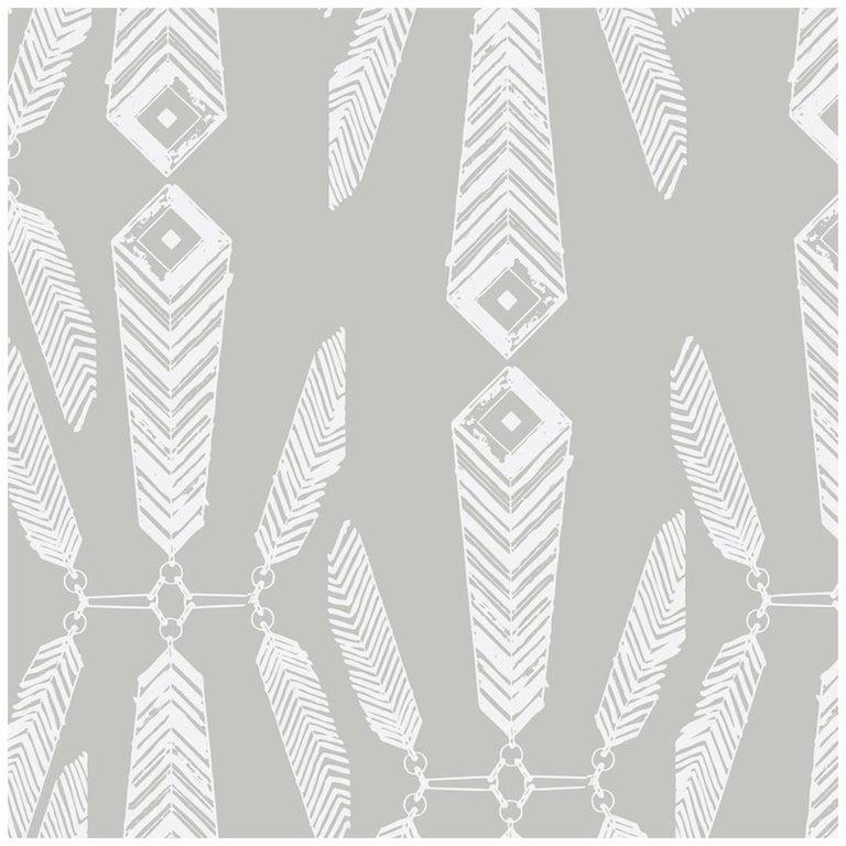 Indian Summer Designer Wallpaper in Color Heather 'White on Gray' In New Condition For Sale In Brooklyn, NY