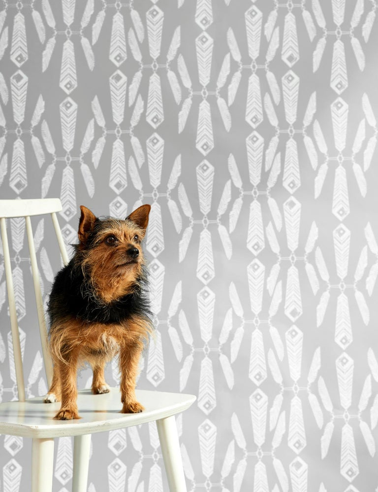 Contemporary Indian Summer Designer Wallpaper in Color Heather 'White on Gray' For Sale