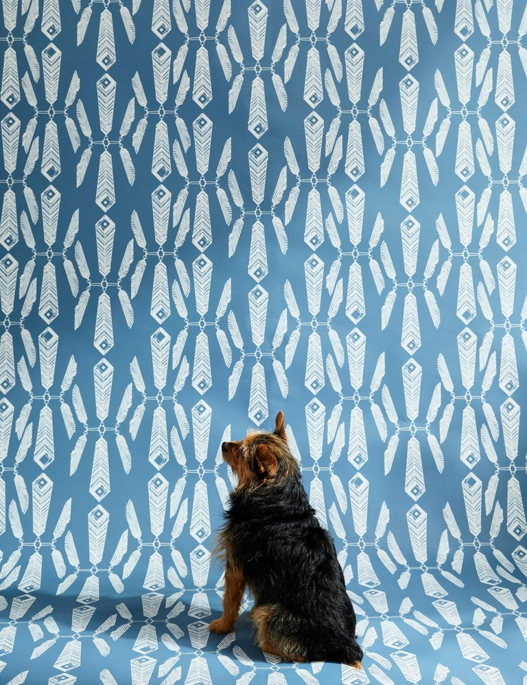Indian Summer Designer Wallpaper in Color Lagoon 'White on Aegean Blue' In New Condition For Sale In Brooklyn, NY
