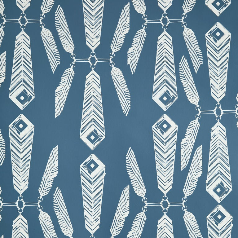 Contemporary Indian Summer Designer Wallpaper in Color Lagoon 'White on Aegean Blue' For Sale