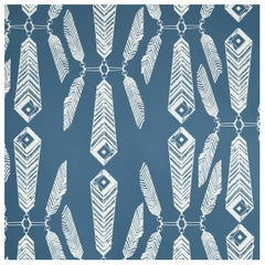 Indian Summer Designer Wallpaper in Color Lagoon 'White on Aegean Blue'