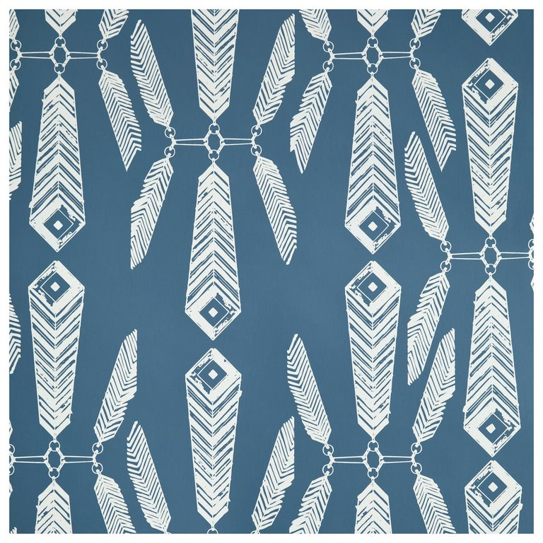 Indian Summer Designer Wallpaper in Color Lagoon 'White on Aegean Blue' For Sale
