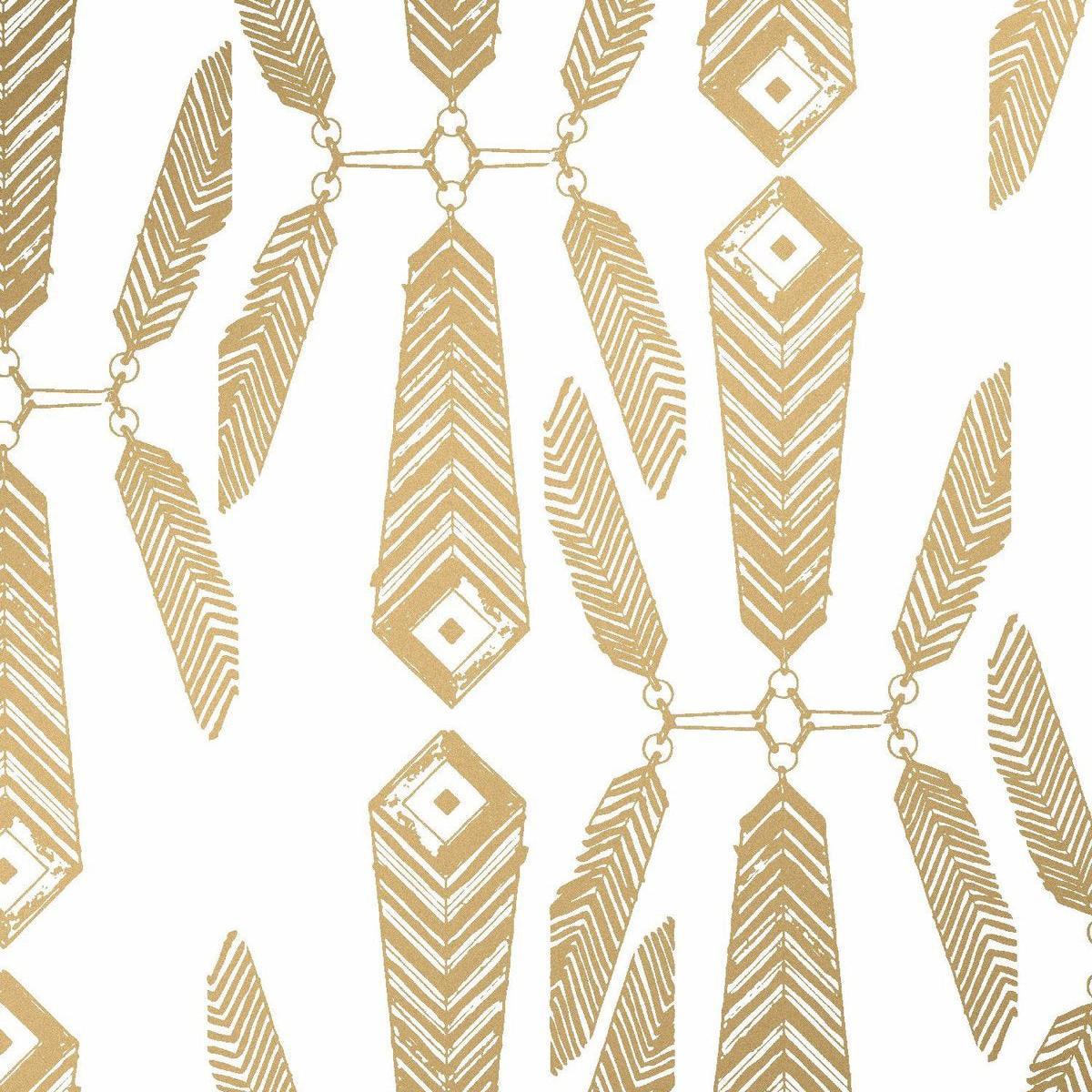 Indian Summer Designer Wallpaper in Sphinx 'Metallic Gold on Soft White'